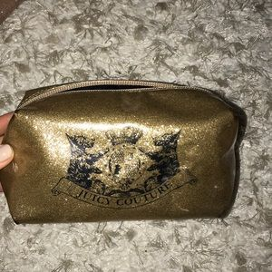 Juicy Couture makeup cosmetic bag gold sparkle